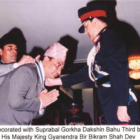Decorated with Suprabal Gorkha Dakshin Bahu Third by His Majesty King Gyanendra Bir Bikram Shah Dev